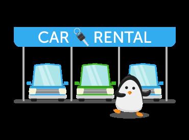 car rental garage with penguin