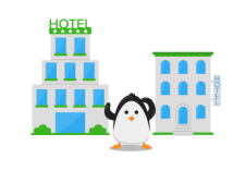two hotels and a penguin